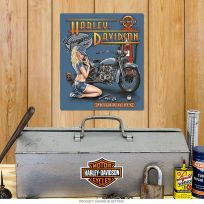 Harley-Davidson Mechanic Pin-Up Girl Tin Sign