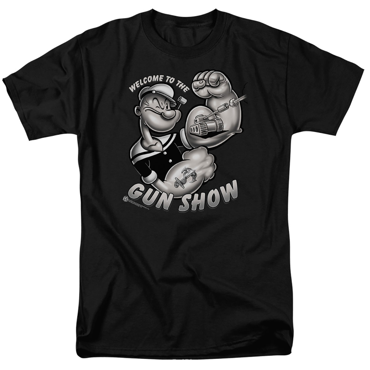 Popeye Welcome To The Gun Show Black T-Shirt