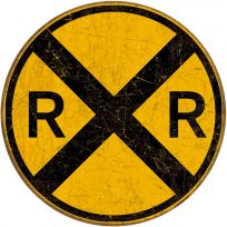 Railroad Crossing Distressed Tin Sign
