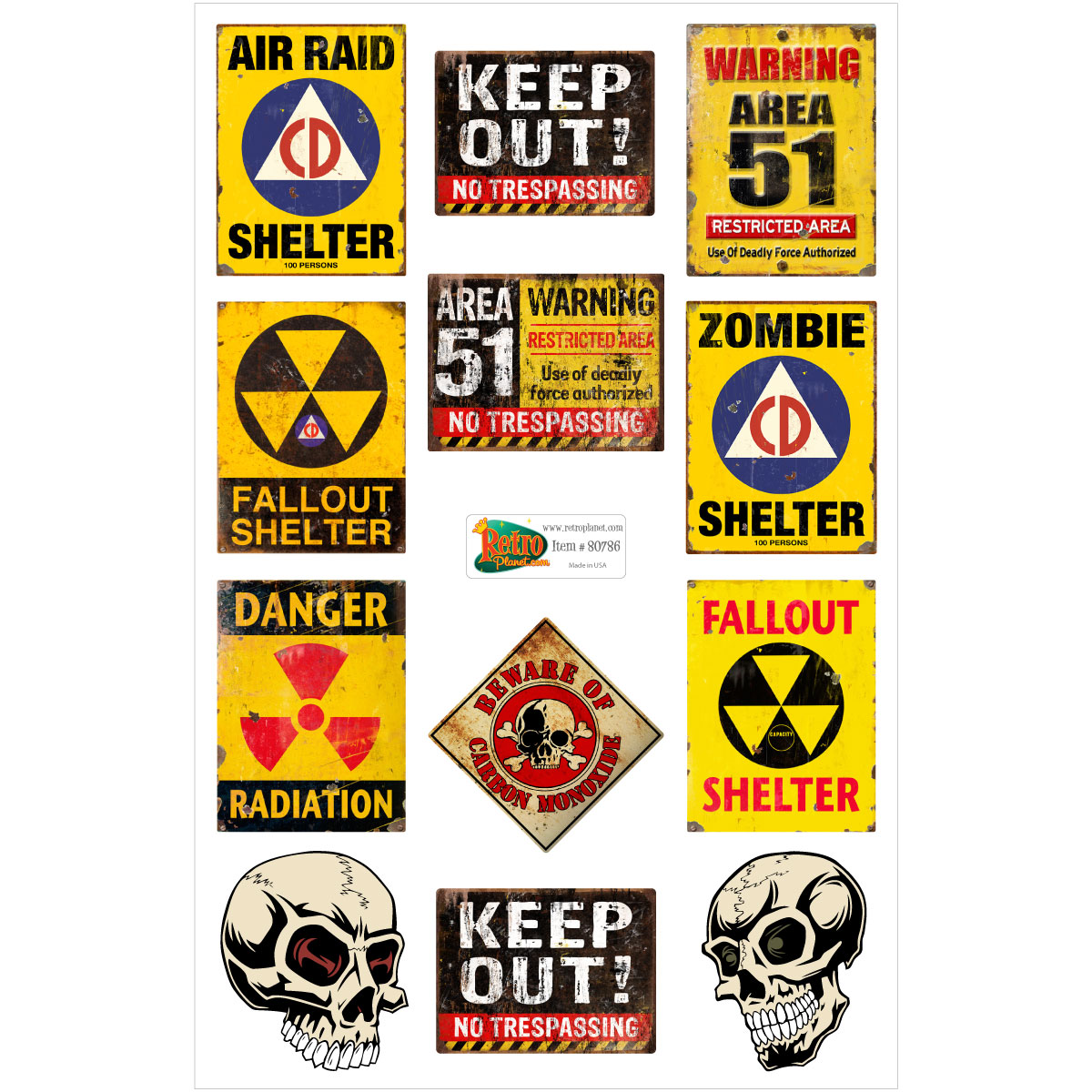 Area 51 Fallout Shelter Warning Signs Vinyl Sticker Set Of