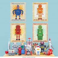 Tin Toy Retro Robot Box Art Wall Decal Set