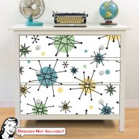 Atomic Starburst 50s Style IKEA HEMNES Dresser Graphic Decal Hack