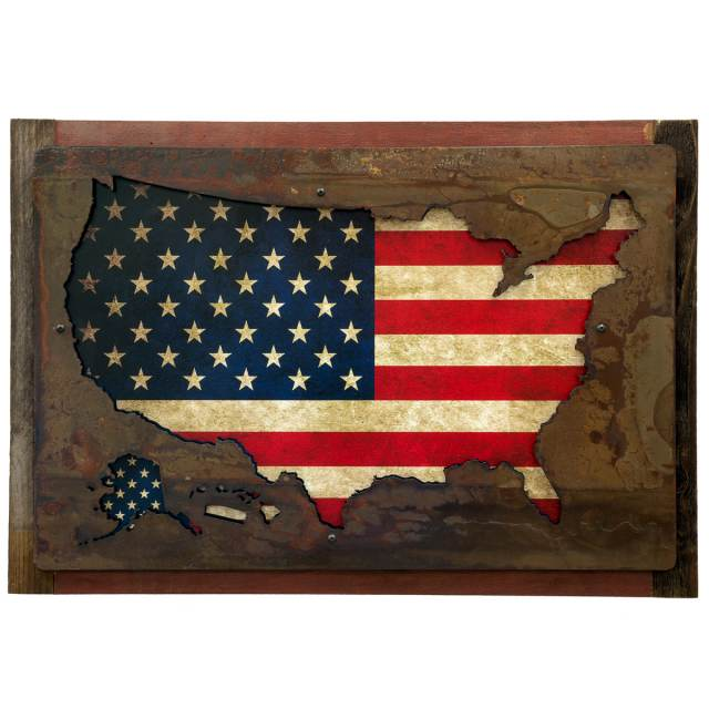 cc625d2ae354 United States Flag Map Mounted Metal Sign Large 3D Layered at Retro Planet